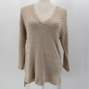 Lucky Brand Off-White Knit V-Neck Sweater Small